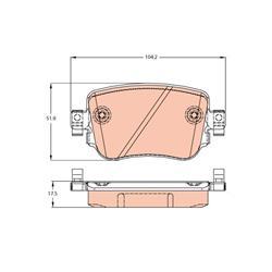 Bremsbelagsatz, Scheibenbremse - TRW - Hinterachse