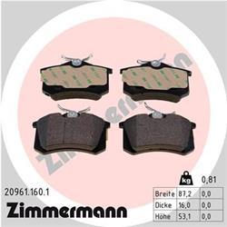 Bremsbelagsatz, Scheibenbremse - ZIMMERMANN - Hinterachse