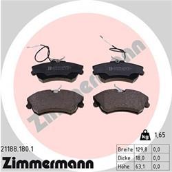 Bremsbelagsatz, Scheibenbremse - ZIMMERMANN - Vorderachse