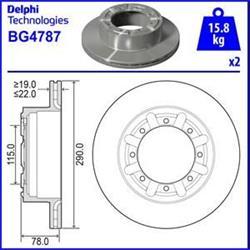 Bremsscheibe Beschichtet mit Radlager - ORIGINAL DELPHI - Hinterachse