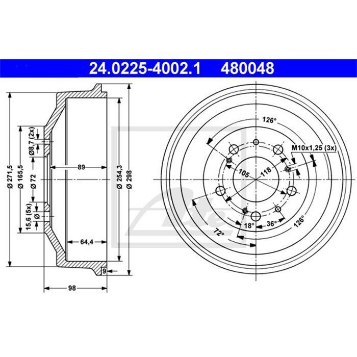 Bremstrommel - ORIGINAL ATE - Hinterachse