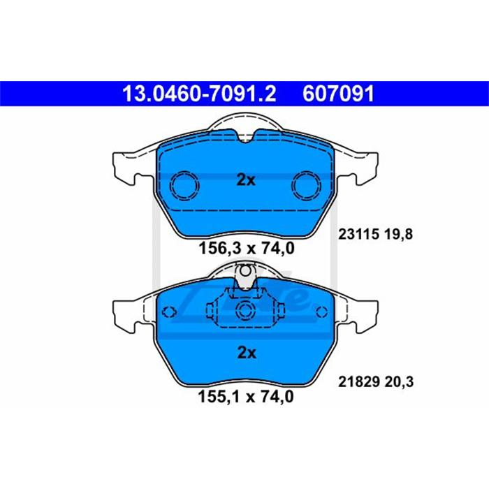 Bremsbelagsatz, Scheibenbremse - ORIGINAL ATE - Vorderachse