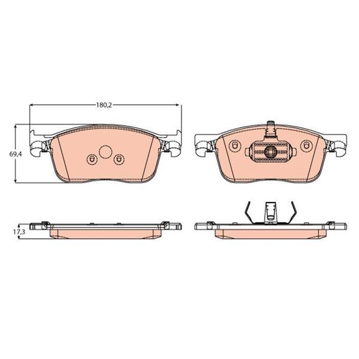 Bremsbelagsatz, Scheibenbremse - TRW - Vorderachse