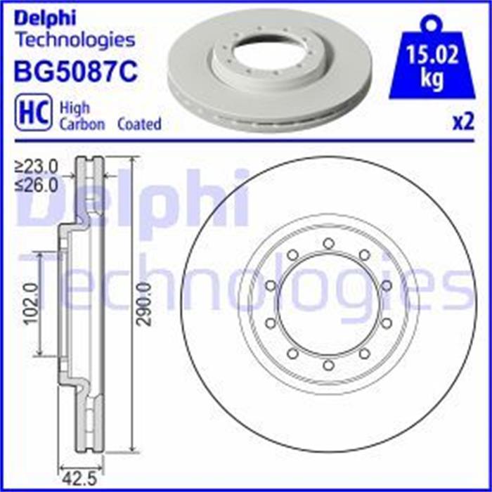 Bremsscheibe Beschichtet - ORIGINAL DELPHI - Vorderachse