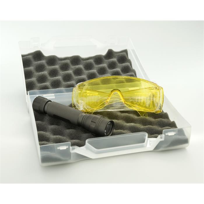 Taschenlampe UV Mini LED inkl. UV Brille + Koffer