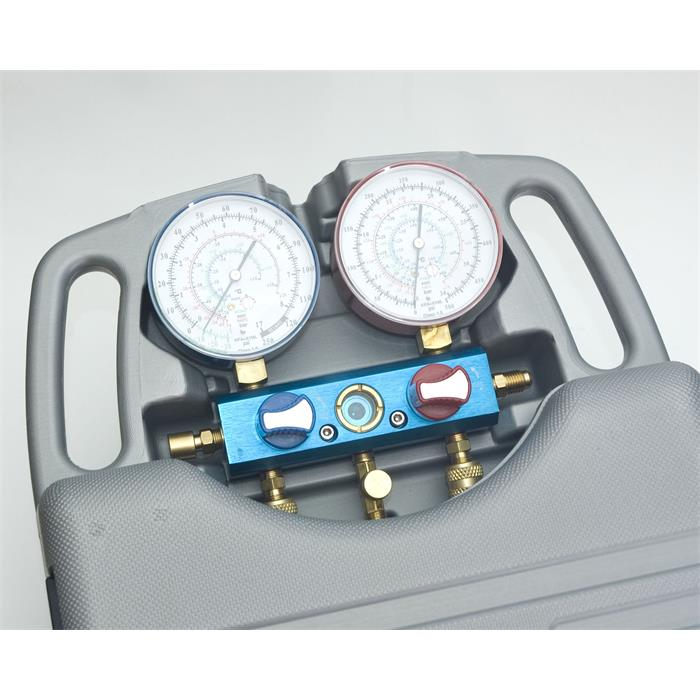 Prüfarmatur 2-Ventil Koffer inkl. Schläuche (1,8m)